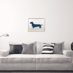 wall_picture_blue_dachshund