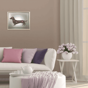 wall_picture_purple pink Dachshund