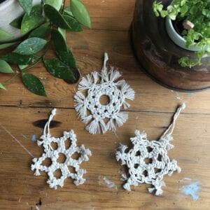 Macrame Christmas decorations 3 snowflakes set 1 original