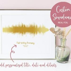 A unique, personalised foiled soundwave print.