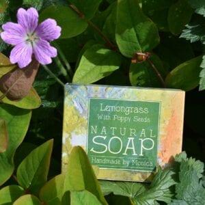 handmade natural soap lemongrass poppy seeds