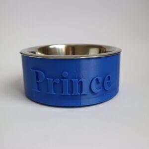 personalised pet bowl royal blue
