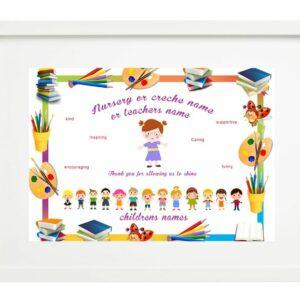 framed montessori and nursery teacher with image