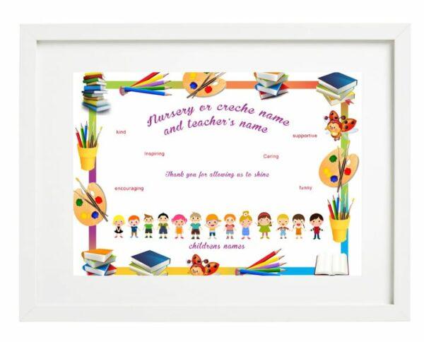 framed montessori and nursery teacher no image