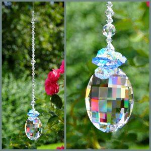 Matrix blue cluster Swarovski crystals suncatcher
