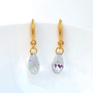 gold-plated-Silver-Briolette-earrings-Clear-Swarovski-crystals