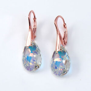 Rose-Gold-earrings-16mm-Clear-AB-Pear-drop-Swarovski-crystals