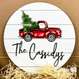 Red Christmas Tree Truck Sign 2-2